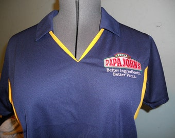 Ladies Navy/yellow Papa Johns Shirt