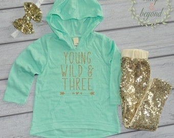 Third Birthday Girl Outfit, 3rd Birthday Shirt, Hoodie Pants and Headband, Young Wild and Three, Third Birthday Outfit Girl 136