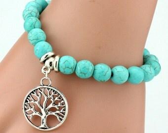 Tree of Life Turquoise Bead Bracelet
