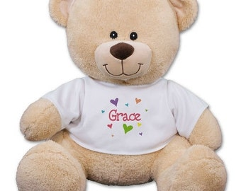 Personalized Teddy Bear Lots of Hearts