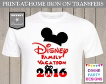 INSTANT DOWNLOAD Print at Home Disney Family Vacation 2016 Printable Iron On Transfer / T-shirt / Trip / Diy / Item #2430
