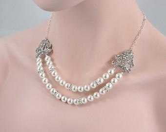 Calla -  Swarovski Pearl Necklace, Bridal Jewelry Necklace, Wedding Necklace,  Crystal Pearl Necklace, Vintage Necklace