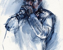 Blues harminca painting - original blues painting for pub - african american playing harmonica