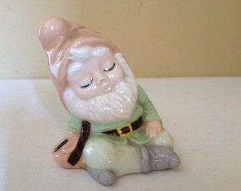 Vintage Adorable  Green Elf Leprechaun Sleepy Figurine- Perfect for St Patrick's Day- 1975- Albertas Mold