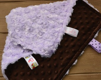 Minky Tag Blanket... Personalized Mini Baby Blanket For Girl... Minky Security Blanket