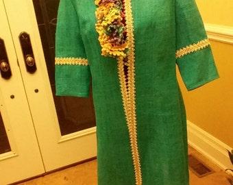 Hemp Dress Coat vintage trim