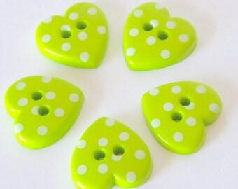 10 x 15mm Lime Green Polka Dot Heart Buttons