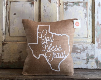 Pillow Cover   God Bless Texas pillow   Texas pillow   Texas Gift   Gift for Mom   Christmas Gift   Moving, Housewarming, Hostess Gift