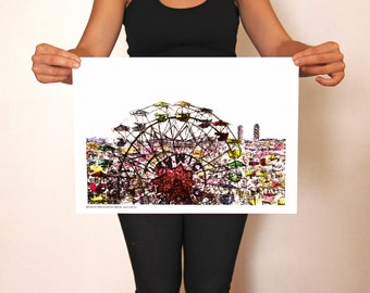 Print A3 - Tibi-Dabo wheel and sightseeing Barcelona - Engraving, drawing and watercolour
