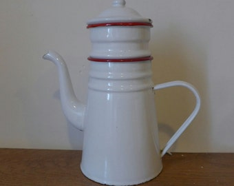 White/red vintage coffee pot