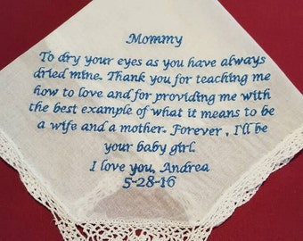 Mother Of The Bride OR Mother of The Groom Handkerchief - Mother Of Groom - Mother of Bride - Wedding Handkerchief - Mom Handkerchief - mom
