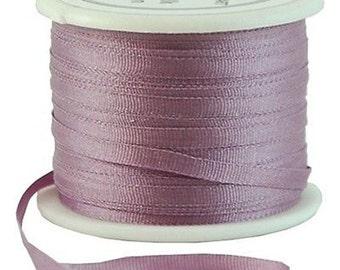 11 Yds (10 M) Embroidery Silk Ribbon 100% Silk 2mm - Lavender - By Threadart