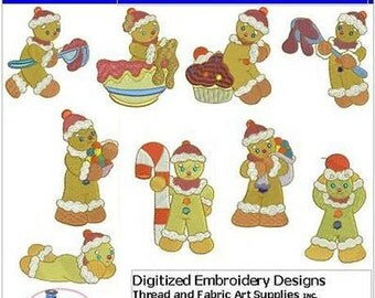 Embroidery Design CD - Gingerbread Men(1) - 10 Designs - 9 Formats - Threadart