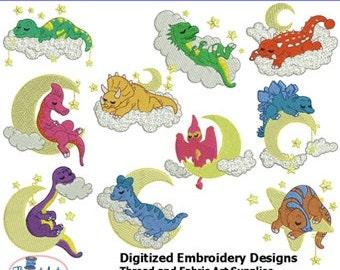 Embroidery Design CD - Sleeping Dinos (1) - 10 Designs - 9 Formats - Threadart