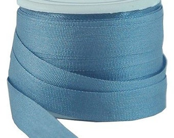 11 Yds (10 M) Embroidery Silk Ribbon 100% Silk 7mm - Slate Blue - By Threadart