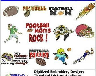 Embroidery Design CD - Football(1) - 12 Designs - 9 Formats - Threadart
