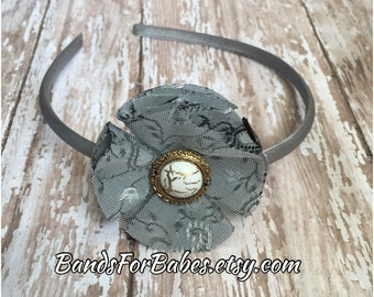 SALE Dark Silver Fabric Flower Headband, Grey Satin Wrapped Floral Flower Headband, Pewter Hair Accessory, Hard Headband, Basic Headband