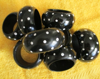 """Set of 8 hand painted whimsy  black  with white polka dots      1 """" wide napkin rings"""
