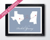 Two States Maps with Love Trails, Engagement Gift, Wedding Gift , Anniversary Gift - Personalized Long Distance Relationship Gift Print