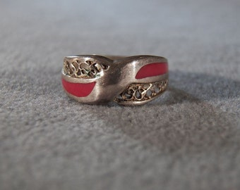 Vintage Sterling Silver Red Coral Band Style Ring, size 8 Jewelry **RL