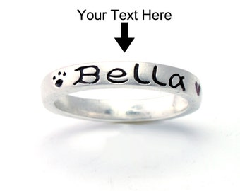 Customized Name stack Ring in 925 sterling silver