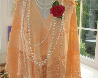 Gorgeous Vintage Antique Peach Cotton Lace Doilies Crochet 1920's Wedding Shawl Wrap Poncho