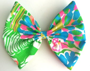 Lilly Pulitzer Hibiscus Stroll Fabric Hair Bow