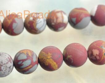 Natural Australia red Picture Jasper,10mm,matte beads,15 inches