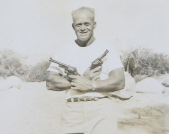 Vintage 1940's Man With Guns Says Put Em Up Snapshot Photo - Free Shipping