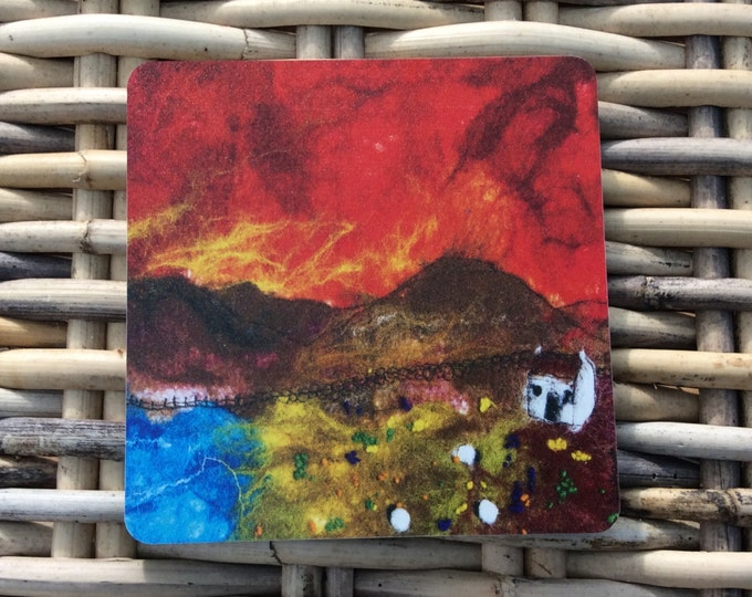 Matt coaster ' Red skies  ' ' made from an original wet felt picture by Sue Howat