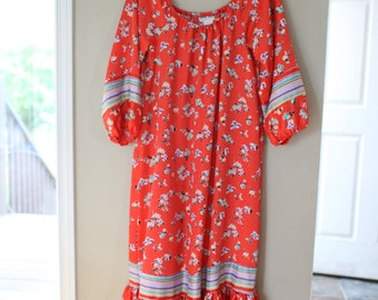 vintage christian dior red floral bohemian tunic caftan dress
