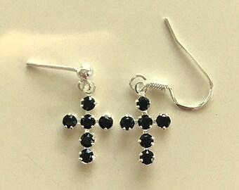 Swarovski Black Crystal Jet Cross Earrings - Choice of Wire or Posts