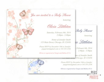Butterfly Baby Shower Invitation (Printable) Butterfly Baby Shower Invites - Shabby Chic Baby Shower Invitations - Whimsical Baby Shower