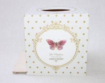 Vintage Butterfly Tissue Box Cover, Romantic, Wooden Tissue Box, White Wedding Gift Box, Engagement Present