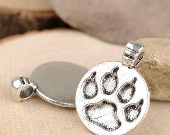 DIY 25 pcs antique silver the bear's paw pawprint badge charm pendant  28x21mm