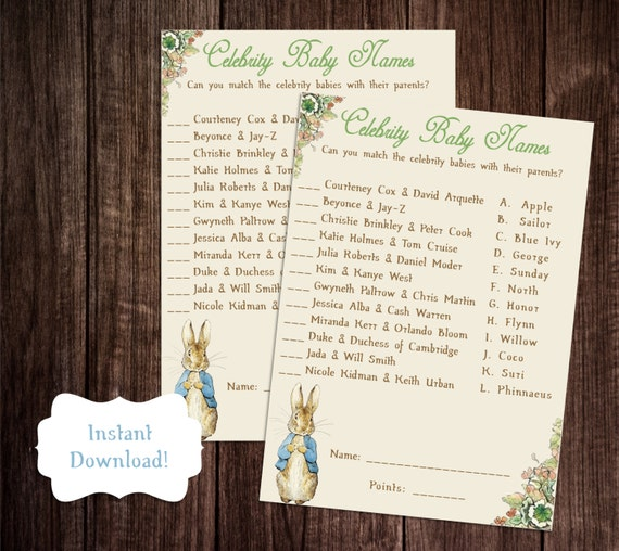 Celebrity Baby Name Game Printable Peter Rabbit Baby Shower