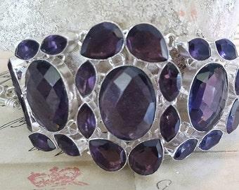 Sterling Silver Bracelet - AMETHYST Quartz, HUGE Size, 7-9 in, Jewelry, Metaphysical, February, Handmade, Birthstone, Aquarius, NEW!!