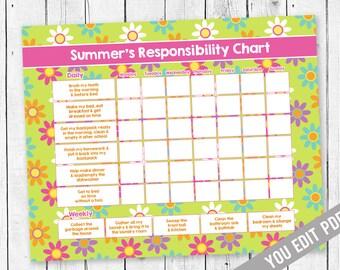 Chore Chart For Teens, Reward Chart, Responsibility Chart, Weekly Chore  Chart, Behavior