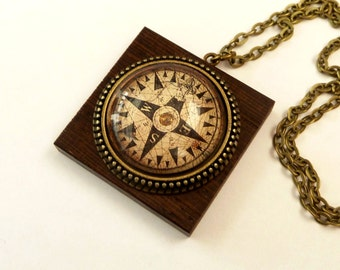 Compass necklace mens jewelry, maritime necklace, wooden jewelry, navigation, seafaring, men necklace