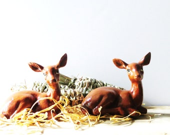 Pair of Ceramic Deer, Deer Fawn Figurine, Statue, Woodland Animals, Cabin Decor
