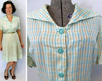 50s Dress / 1950s Dress / 50s Day Dress / Summer Dress / Cotton Dress / Vintage Day Dress / Vintage Cotton Dress / 50s Cotton Dress