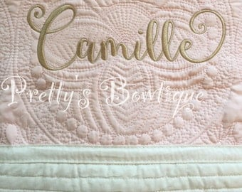 Monogrammed Baby Quilt -- Personalized Baby Quilt -- Cotton Throw Quilt -- Baby Bedding-- Monogram baby quilt
