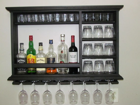 mini bar black stain 3 39 x2 39 wall mounted wine rack. Black Bedroom Furniture Sets. Home Design Ideas