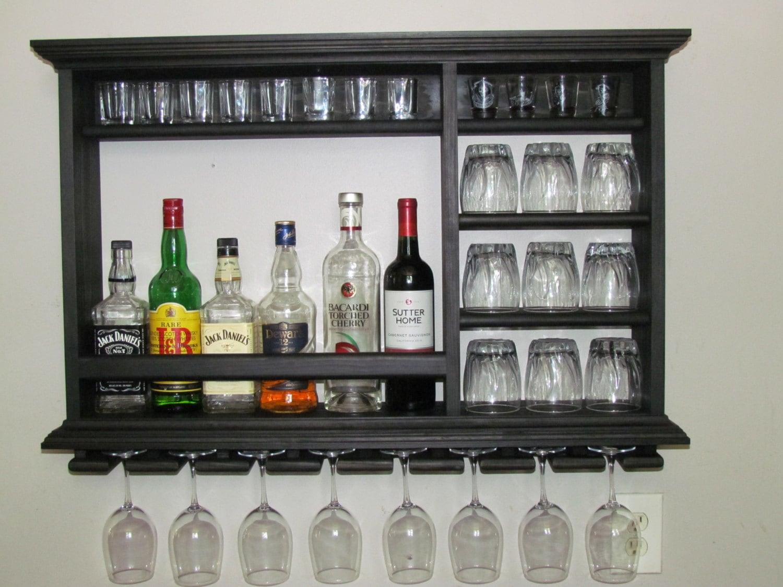 Mini bar black stain 3 39 x2 39 wall mounted wine rack - Cavas de vinos para casa ...
