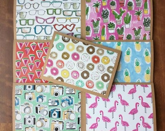 """YOU PICK - set of cards. Blank 5""""x7"""" colorful, fun, handmade greeting cards, envelopes included."""