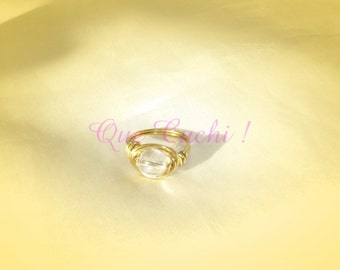 Golden Ring with a Rock Crystal Pearl