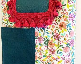 Handmade shoulder bag with large leather pocket detail and vintage braid