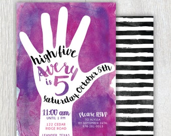 Printable 5th birthday invitation - High Five party - Watercolor invitation - Fifth Birthday party - Black stripes - Pink Purple watercolor