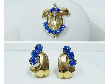 Brooch Pendant Earrings Set, Vintage Jewelry Set, Screw Back Earrings