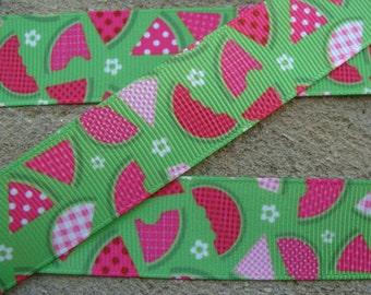 "3 yards Summer Green Watermelon Grosgrain Printed Ribbon 7/8"" or 1 1/2"" Grosgrain Ribbon Hair Bow Ribbon"